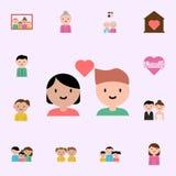 muchacho, icono de la historieta de la muchacha Sistema universal de los iconos de la familia para el web y el m?vil stock de ilustración