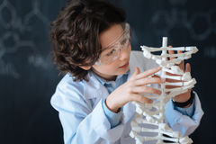Muchacho implicado que disfruta de proyecto de la química en la escuela Imagen de archivo