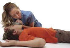 Muchacho inconsciente de reanimación Fotografía de archivo libre de regalías
