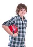Muchacho joven con el balompié Imagen de archivo libre de regalías