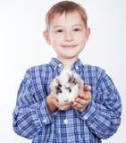 Muchacho joven con el conejillo de Indias Imagenes de archivo