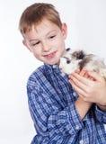 Muchacho joven con el conejillo de Indias Imagen de archivo