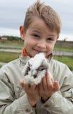 Muchacho joven con el conejillo de Indias Imágenes de archivo libres de regalías