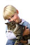 Muchacho joven con el gato Imagen de archivo