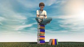 Muchacho joven con el libro Imágenes de archivo libres de regalías