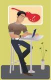 Muchacho joven con la computadora portátil libre illustration