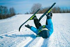 Muchacho joven con los esquís a campo través Fotografía de archivo libre de regalías