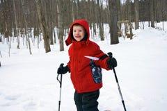 Muchacho joven con los postes de esquí foto de archivo libre de regalías