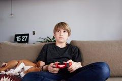 Muchacho joven de Concentraited que juega la consola del videojuego asentada en un sofá con el perrito del perro del basenji que  fotos de archivo