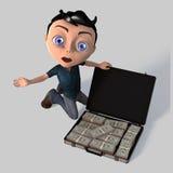 Muchacho joven de la historieta con el dinero Imagen de archivo