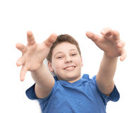 Muchacho joven de risa feliz aislado Foto de archivo