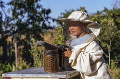 Muchacho joven del apicultor que usa a un fumador en yarda de la abeja Fotos de archivo libres de regalías