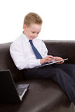 Muchacho joven del hombre de negocios de Multitask Fotos de archivo libres de regalías