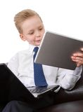 Muchacho joven del hombre de negocios de Multitask Imagenes de archivo