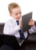 Muchacho joven del hombre de negocios de Multitask Foto de archivo libre de regalías