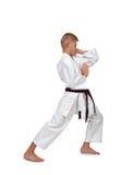 Muchacho joven del karate en kimono Imagen de archivo libre de regalías