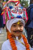 Muchacho joven en el festival de GaijatraThe de vacas Imagen de archivo