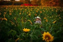 Muchacho joven en remiendo del girasol en otoño Imagen de archivo