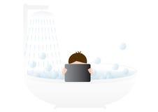 Muchacho joven en un baño Fotos de archivo libres de regalías