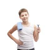 Muchacho joven feliz en una camisa sin mangas Fotos de archivo libres de regalías