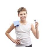 Muchacho joven feliz en una camisa sin mangas Fotos de archivo