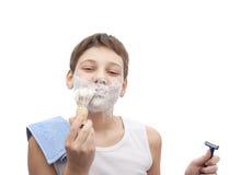 Muchacho joven feliz en una camisa sin mangas Imagen de archivo