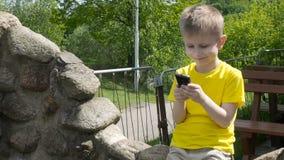 Muchacho joven feliz que usa smartphone en el parque almacen de metraje de vídeo