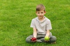 Muchacho joven lindo con las manzanas en hierba verde Fotografía de archivo libre de regalías