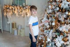 Muchacho joven que adorna el árbol de navidad Foto de archivo