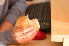 Muchacho joven que come la hamburguesa y que usa el ordenador Fotografía de archivo libre de regalías