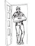 Muchacho joven que entrega la caja caliente de la pizza de las pizzas Entregue al muchacho ilustración del vector