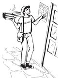 Muchacho joven que entrega la caja caliente de la pizza de las pizzas Entregue al muchacho stock de ilustración