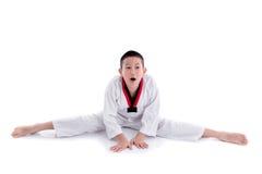 Muchacho joven que entrena a la acción del Taekwondo aislada Imagen de archivo