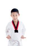 Muchacho joven que entrena a la acción del Taekwondo aislada Foto de archivo