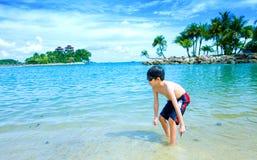 Muchacho joven que goza de la laguna Fotografía de archivo libre de regalías