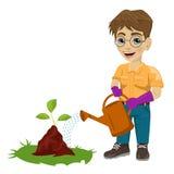 Muchacho joven que riega una planta ilustración del vector