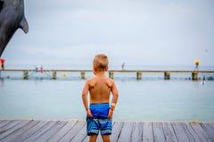 Muchacho joven que se coloca en un embarcadero que mira el océano por una estatua del delfín Imagen de archivo libre de regalías