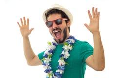 Muchacho joven que se divierte mucho con la celebración del carnaval Fotografía de archivo libre de regalías