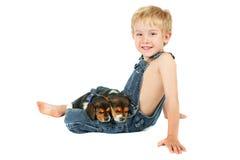 Muchacho joven que sienta con los perritos del beagle en el suyo el regazo Imagen de archivo