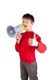 Muchacho joven que sostiene el altavoz Imágenes de archivo libres de regalías