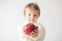 Muchacho joven, sosteniendo la manzana Imagen de archivo libre de regalías