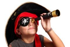 Muchacho joven vestido como pirata Foto de archivo libre de regalías
