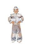 Muchacho juguetón en traje del astronauta Imágenes de archivo libres de regalías