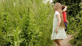 Muchacho juguetón y muchacha que caminan en el sendero en campo Hermano alegre y hermana que corren en césped del verde de la tra almacen de metraje de vídeo