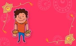 Muchacho lindo con el rakhi para la celebración de Raksha Bandhan Imagenes de archivo