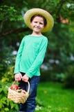 Muchacho lindo con las manzanas Fotografía de archivo libre de regalías