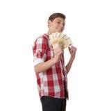 Muchacho lindo del adolescente sobre el fondo blanco Fotos de archivo