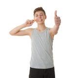 Muchacho lindo del adolescente sobre el fondo blanco Fotografía de archivo