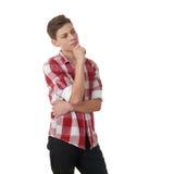Muchacho lindo del adolescente sobre el fondo blanco Imágenes de archivo libres de regalías
