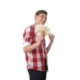 Muchacho lindo del adolescente sobre el fondo blanco Foto de archivo libre de regalías